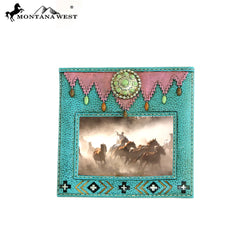 RSP-1631 Montana West Turquoise Stones Concho Turquoise Color Resin Texture Photo Frame