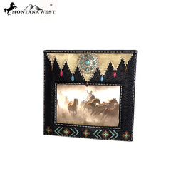 RSP-1632 Montana West Turquoise Stones Concho Black Color Resin Texture Photo Frame