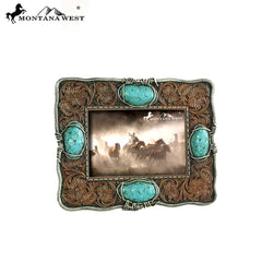 RSP-1703 Montana West Turquoise Stones Brown Resin Photo Frame