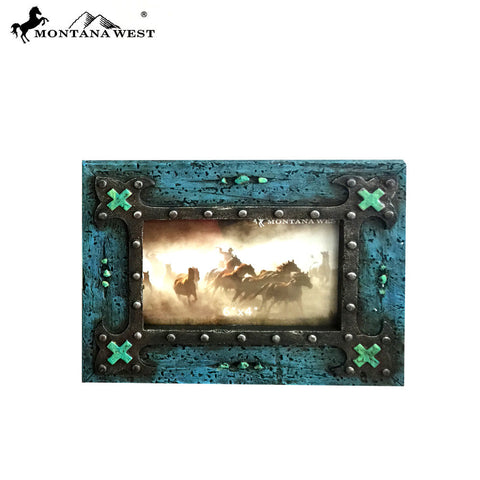 "RSP-1859  Montana West Vintage Wood Like Turquoise Color Photo Frame 6"" X 4"""