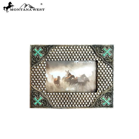 RSP-1897 Montana West Western Stud and Cross Design Resin Photo Frame