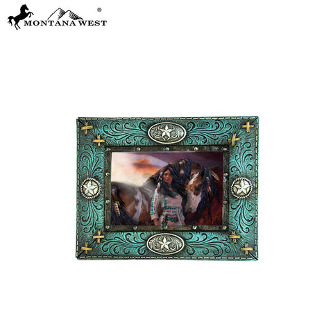 RSP-206 Montana West Lone Star With Turquoise Faux Leather Photo Frame