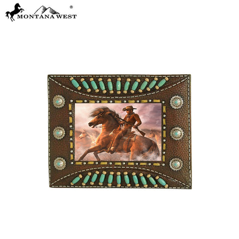 RSP-229 Montana West Indian Beaded Resin Photo Frame - Dark Brown