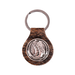 RYS-225A  Montana West Real Leather Hair-On Cowhide Cowboy Boot  Key Fob/Key Chain 1Pcs