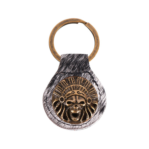 RYS-227A  Montana West Real Leather Hair-On Cow-hide Indian Chief Skull Key Fob/Key Chain  1Pcs
