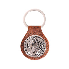RYS-228A  Montana West Real Leather Hair-On Cowhide Indiana Chief Concho Key Fob/Key Chain  1Pcs