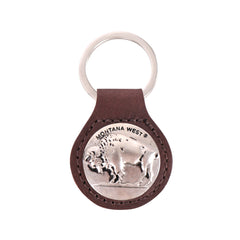 RYS-229B  Montana West Real Leather Buffalo Concho Key Fob/Key Chain  1Pcs
