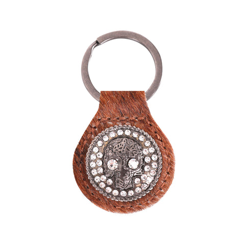 RYS-230A  Montana West Real Leather Hair-On Cowhide Bling Skull Concho Key Fob/Key Chain  1Pcs