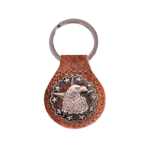 RYS-233A  Montana West Real Leather Hair-On Cowhide Eagle Star Concho Key Fob/Key Chain  1Pcs
