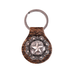 RYS-234A  Montana West Real Leather Hair-On Cowhide Lone Star Concho Key Fob/Key Chain  1Pcs