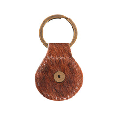 RYS-239 Montana West Real Leather Hair-On Cowhide Engraved Berry Concho Key Fob/Key Chain 1Pcs