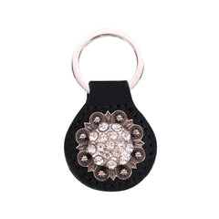 RYS-240  Montana West Real Leather Silver Rhinestones Concho Key Fob/Key Chain  1Pcs