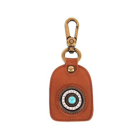 RYS-242B  Montana West Real Leather Turquoise Stone Concho Key Chain 1Pcs