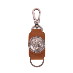 RYS-254  Montana West Real Leather Fleur De Lis  Concho Key Chain 1Pcs