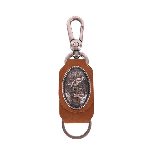 RYS-257  Montana West Real Leather Copper Rooster Concho Key Chain 1Pcs