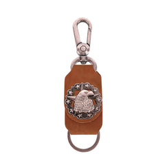 RYS-263  Montana West Real Leather Eagle Star Concho Key Chain 1Pcs
