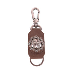 RYS-265  Montana West Real Leather Cross Concho Key Chain 1Pcs