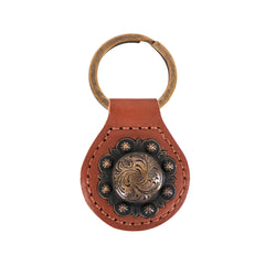 RYS-276  Montana West Real Leather Engraved Berry Concho Key Fob/Key Chain  1Pcs