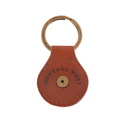 RYS-279 Montana West Real Leather Engraved Berry Concho Key Fob/Key Chain 1Pcs