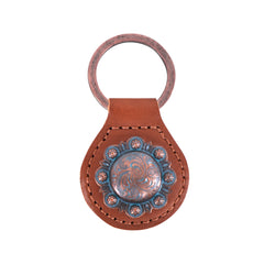 RYS-280 Montana West Real Leather Engraved Berry Concho Key Fob/Key Chain 1Pcs
