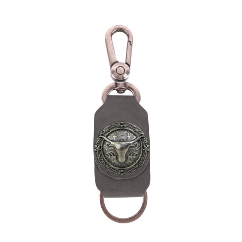 RYS-284  Montana West Real Leather Longhorn Concho Key Chain 1Pcs