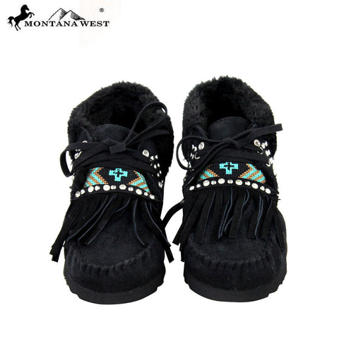 SBT-007 Montana West Moccasins Aztec Collection-Black