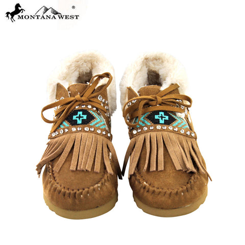 SBT-007 Montana West Moccasins Aztec Collection-Brown