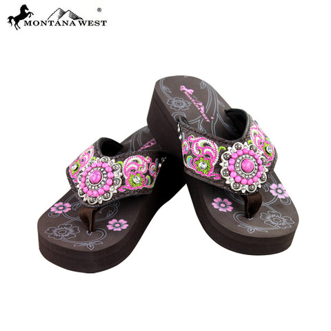 SE09-S096 Montana West Embroidered Flip-Flops By Size
