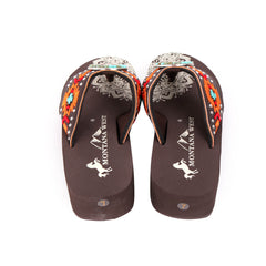 SE101-S099  Mandala Aztec Embroidered Wedge Flip-Flop By Case
