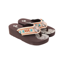SE102-S190   Mandala Hand-Stitch Wedge Flip-Flop By Case