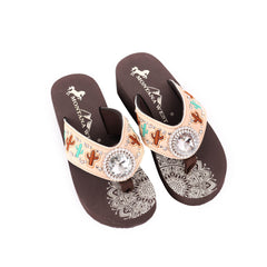 SE103-S037  Mandala Cactus Wedge Flip-Flop By Case