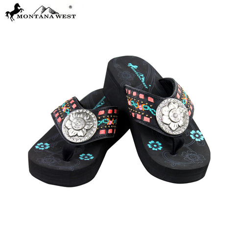 SE11-S106 Montana West Embroidered Flip-Flops By Size