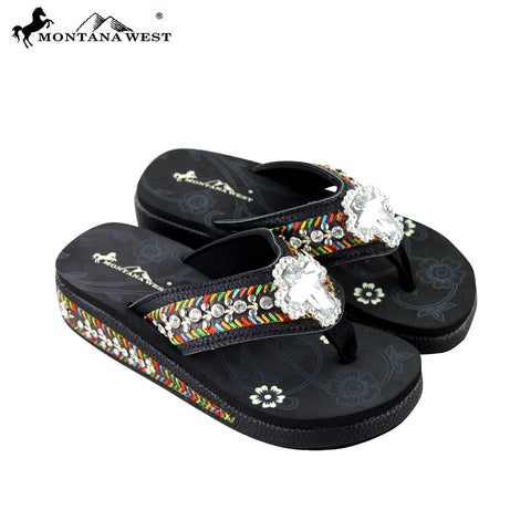 SE18-S008 Montana West Embroidered Flip-Flops Collection By Size