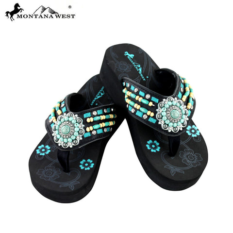 SE20-S096 Montana West Embroidered Flip-Flops Collection By Size