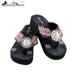 SE21-S001 Montana West Embroidered Flip-Flops By Size