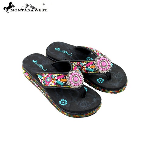 SE26-S096 Montana West Embroidered Flip-Flops By Size
