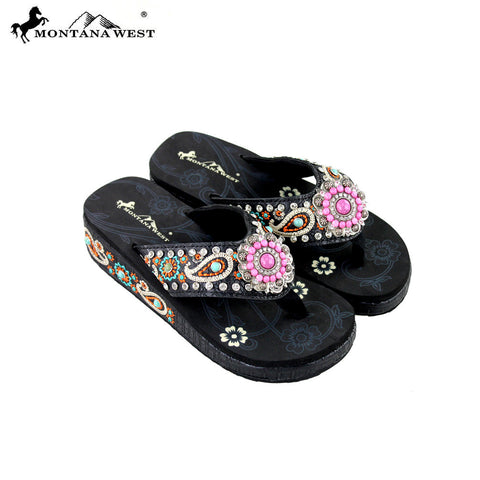 SE27-S096 Montana West Embroidered Flip-Flops By SIze