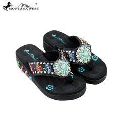 SE28-S096 Montana West Embroidered Flip-Flops Collection BY CASE