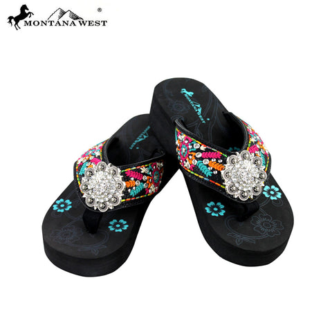 SE29-S001 Montana West Embroidered Flip-Flops By Size