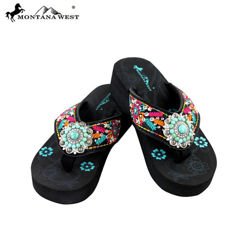 SE29-S096 Montana West Embroidered Flip-Flops Collection By Size