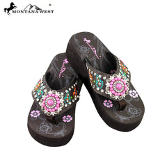 SE30-S096 Montana West Embroidered Flip-Flops Collection BY CASE