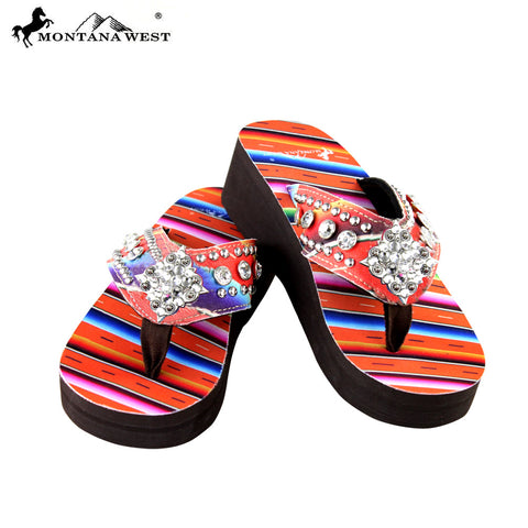 SE31-S002 Serape Wedge Collection Flip Flops By Size