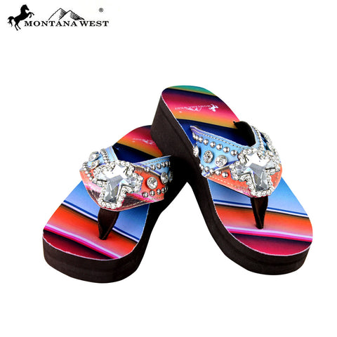 SE31-S008 Serape Wedge Collection Flip Flops By Size