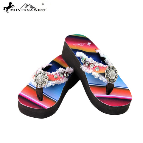 SE32-S001 Serape Wedge Collection Flip Flops By Size