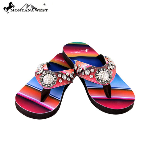 SE33-S001 Serape Thin Sole Collection Flip Flops By Size
