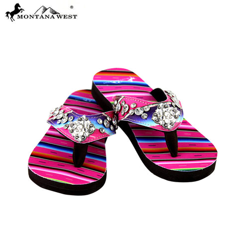 SE33-S002 Serape Thin Sole Collection Flip Flops By Size