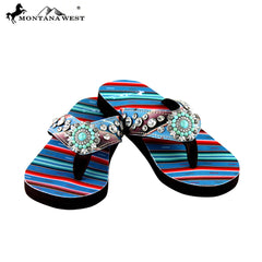 SE33-S096 Serape Thin Sole Collection Flip Flops By Size