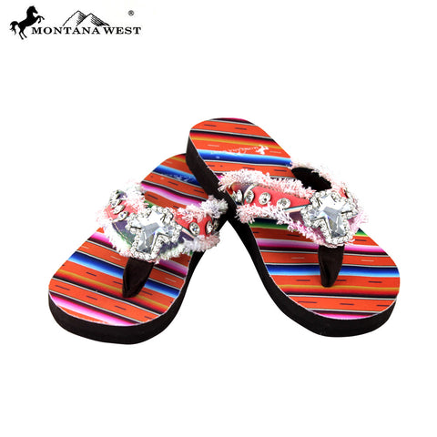 SE34-S008 Serape Thin Sole Collection Flip Flops By Size