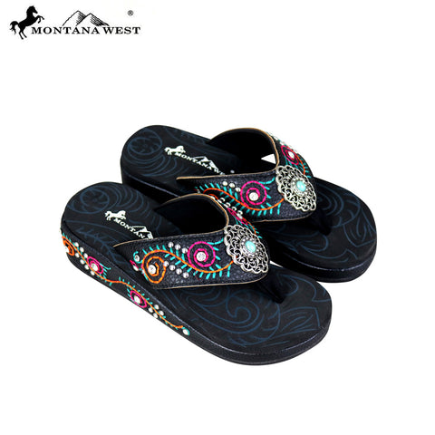 SE68-S152 Montana West Embroidered Flip-Flops Collection