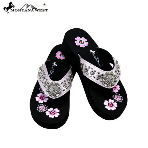 SE73-S001  Bling Bling Collection Wedge Flip Flops By Case